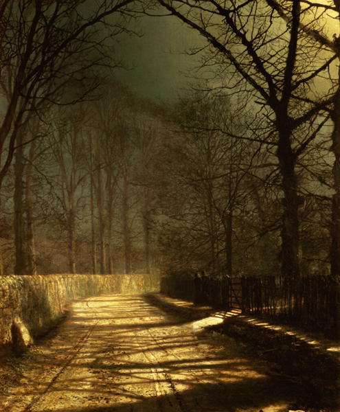 A Moonlit Lane with two lovers by a gate   John Atkinson Grimshaw   oil painting
