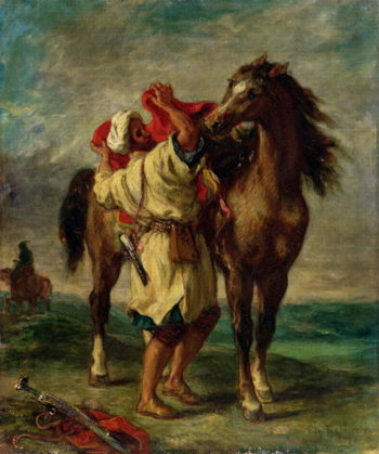 A Moroccan Saddling a Horse | Delacroix | oil painting