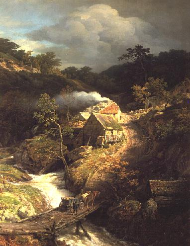 A mountainous landscape with a torrent | Andreas Achenbach | oil painting