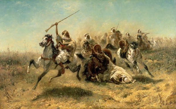 Arab Horsemen on the attack 1869 | Adolf Schreyer | oil painting