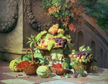 Baskets of Summer Fruits | William Hammer | oil painting