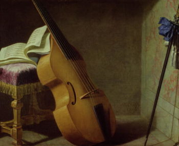 Bass Viol Score Sheet and a Sword 1693 | Boyer | oil painting