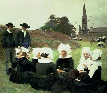 Breton Women Sitting at a Pardon   Pascal Adolphe Jean Dagnan Bouveret   oil painting