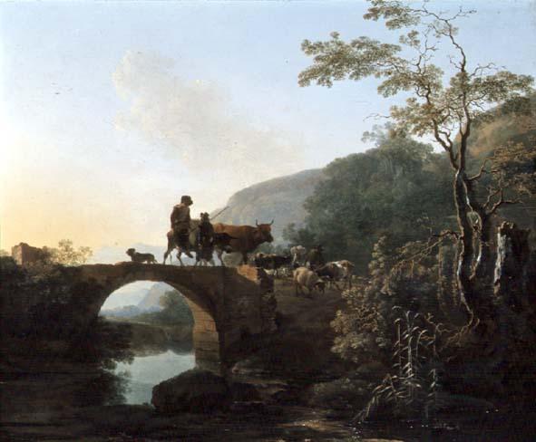 Bridge in an Italian landscape | Adam Pynacker | oil painting