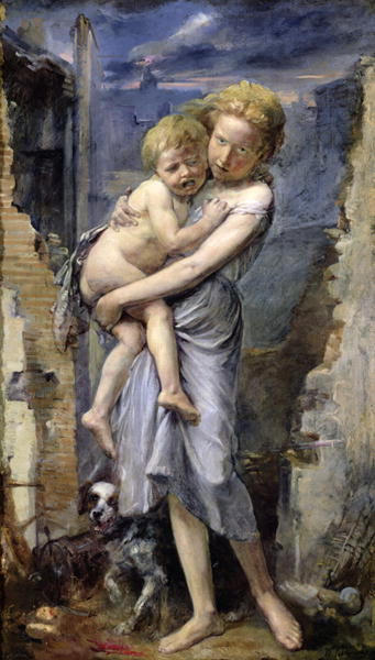 Brother and Sister Two Orphans of the Siege of Paris in 1870 71 | Jean Baptiste Carpeaux | oil painting