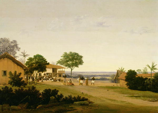 Brazilian Landscape with Buildings and Native Figures   Frans Jansz Post   oil painting