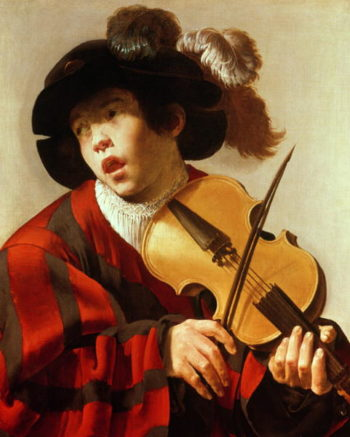 Boy Playing Stringed Instrument and Singing 1627 | Hendrick Ter Brugghen | oil painting
