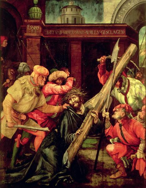 Christ carrying the Cross   Matthias Grunewald   oil painting