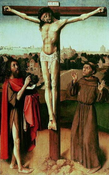 Christ on the Cross between St John and St Francis | Gerard David | oil painting