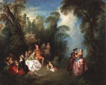 Conversation Galante by a Fountain 1720s | Jean Baptiste Joseph Pater | oil painting