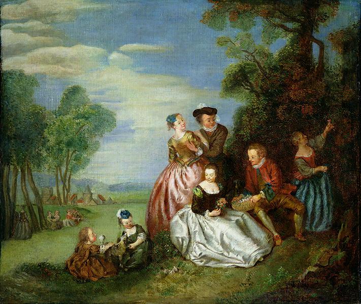 Conversation in a Park   Jean Baptiste Joseph Pater   oil painting