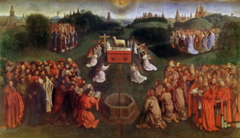 The Adoration of the Mystic Lamb lower half of central panel | Hubert Eyck | oil painting