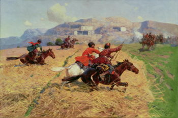 Cossacks charging into battle | Franz Roubaud | oil painting