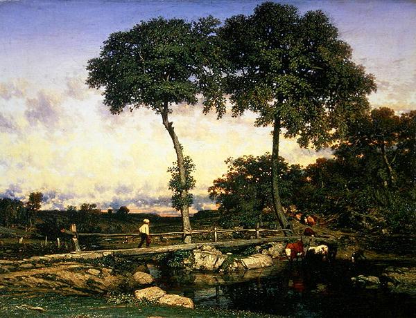 Crossing the Bridge 1838 | Jules Dupre | oil painting