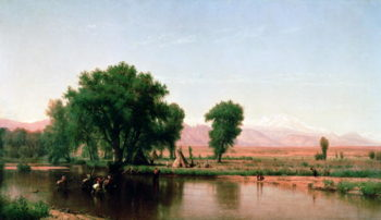 Crossing the Ford Platte River Colorado | Thomas Worthington Whittredge | oil painting