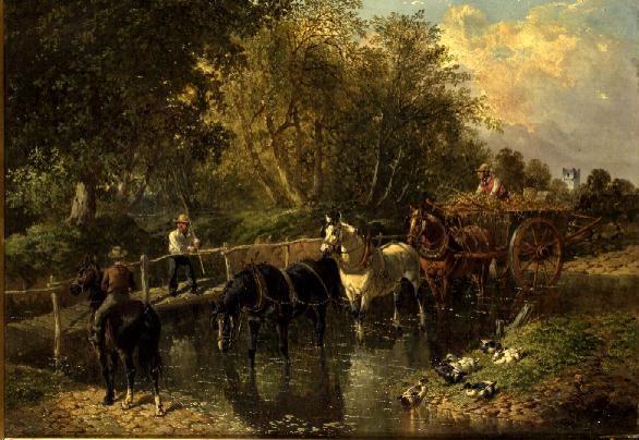 Crossing the Stream | John Frederick Herring Jnr | oil painting