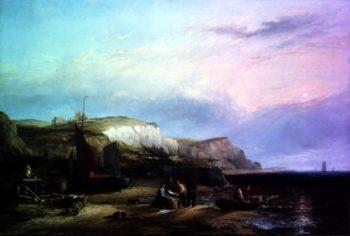 Dutch Pincks Unloading their catch off Egmond Aan Zee   Edward William Cooke   oil painting