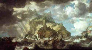 Dutch shipping in heavy seas   Bonaventura Peeters   oil painting