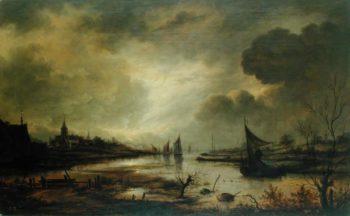 Dutch Town on a River by Moonlight | Aert van der Neer | oil painting