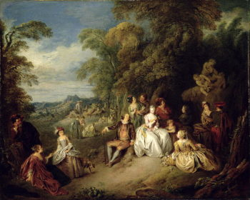 Elegant company in a park | Jean Baptiste Joseph Pater | oil painting