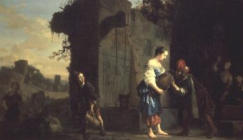 Eliezer and Rebecca at the Well 1660 | Salomon de Bray | oil painting