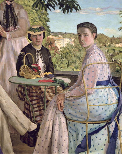 Family Reunion detail of two women 1867 | Jean Frederic Bazille | oil painting