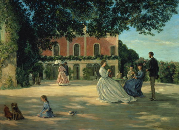 Family Reunion on the Terrace at Meric 1867 | Jean Frederic Bazille] | oil painting