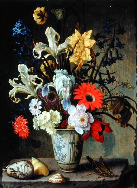 Floral Study with beaker grasshopper and seashells   Balthasar van der Ast   oil painting