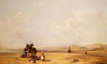 Fishermen unloading their catch on the beach in Cardigan Bay 1841 | Charles Branwhite | oil painting