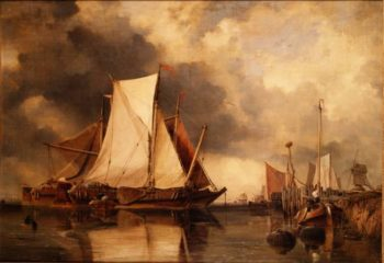 Fishing Boats Aground on the Scheldt | Edward William Cooke | oil painting