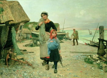Fisherfolk Returning with their Nets Etretat 1882   Henry Bacon   oil painting
