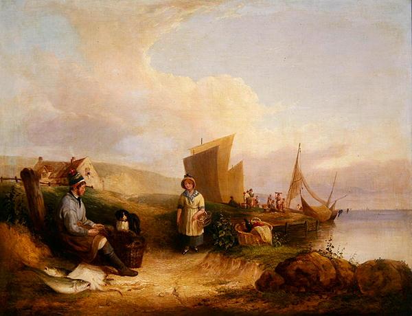 Fisherman mending his net   William Snr Shayer   oil painting