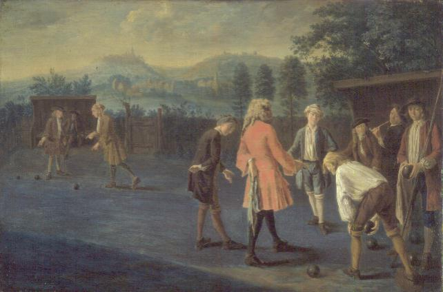 Figures on a Bowling Green | Pieter Angillis | oil painting
