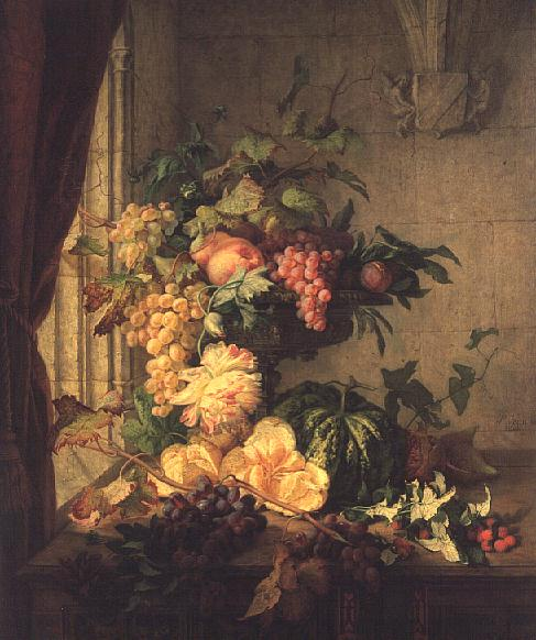 Flowers and Grapes 1844 | Simon Saint Jean | oil painting