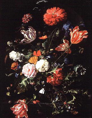 Flowers in a Glass Vase 1660 | Jan Davidsz de Heem | oil painting
