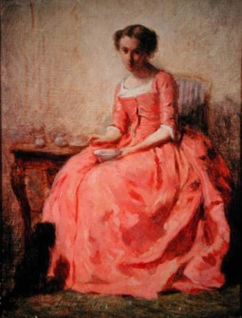Girl in a pink dress at a table | Charles Chaplin | oil painting