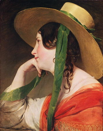 Girl in a Yellow Straw Hat | Friedrich von Amerling | oil painting
