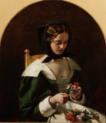 Girl Making a Bouquet of Flowers 1849 | Augustus Egg | oil painting
