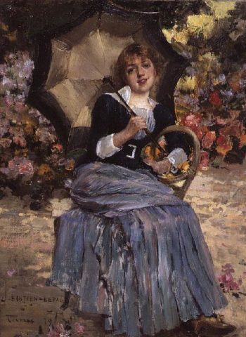 Girl with a sunshade 1879 | Jules Bastien Lepage | oil painting