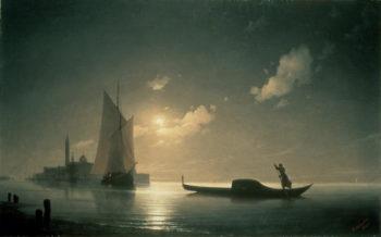 Gondolier at Sea by Night 1843   Ivan Konstantinovich Aivazovsky   oil painting