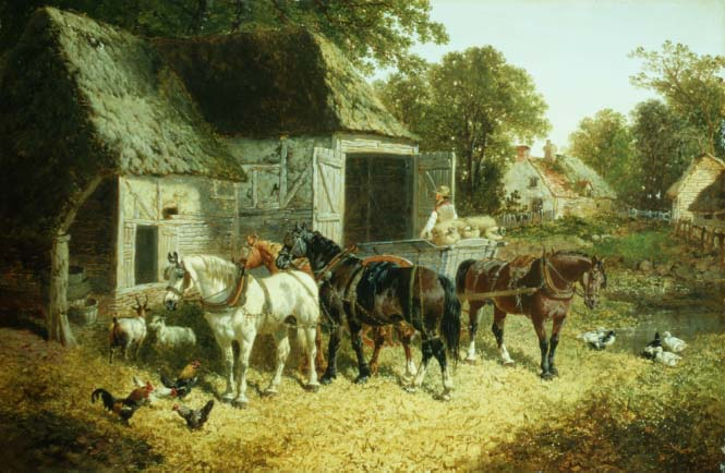 Horses in Harness | John Frederick Herring Jnr | oil painting