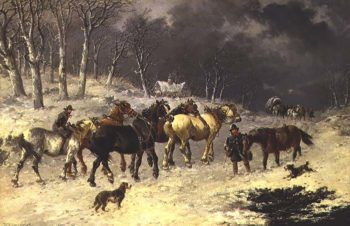 Horses in the Snow | John Frederick Herring Jnr | oil painting