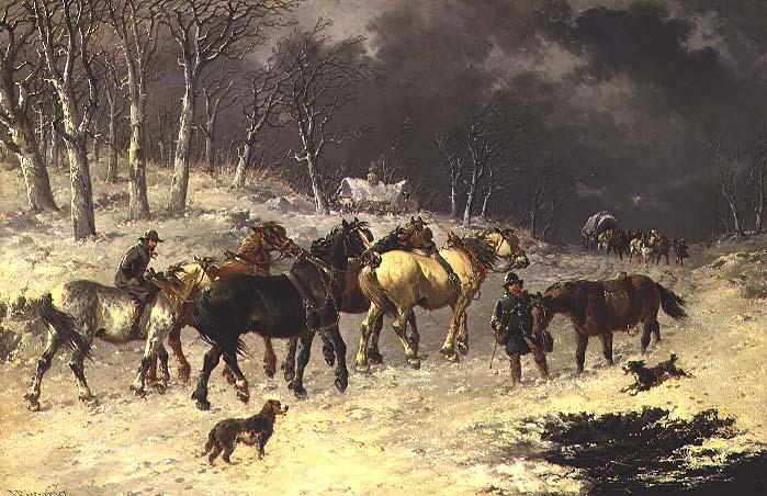 Horses in the Snow | John Frederick Herring Jnr | oil painting