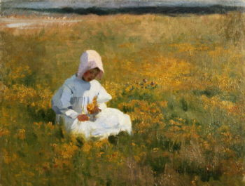 In a Field of Buttercups | Marianne Stokes | oil painting