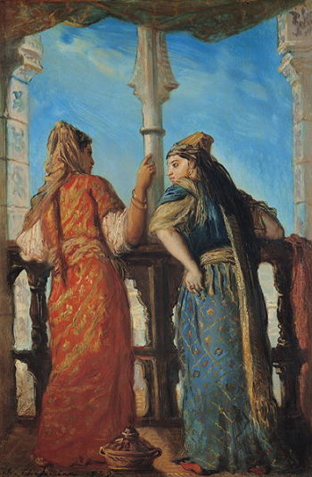 Jewish Women at the Balcony Algiers 1849   Theodore Chasseriau   oil painting