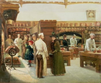 Kitchen Interior in a Grand House   Frank Watkins   oil painting