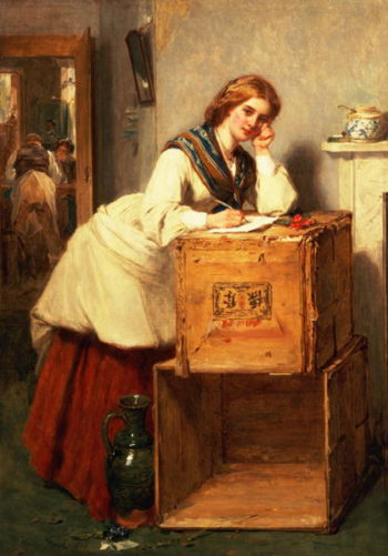 Lady Writing a Letter | Thomas Faed | oil painting
