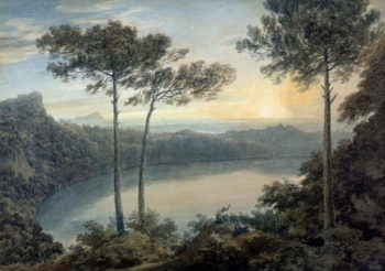 Lake Albano and Castel Gandolfo | John Robert Cozens | oil painting