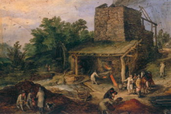 Landscape with a foundry | Jan the Elder Brueghel | oil painting