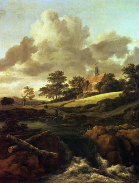 Landscape with a stream   Jacob Isaaksz or Isaacksz van Ruisdael   oil painting